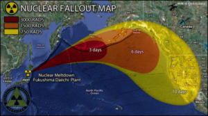 shows the flow of radiation fallout from the Fukushima Daiichi nuclear power plant meltdown